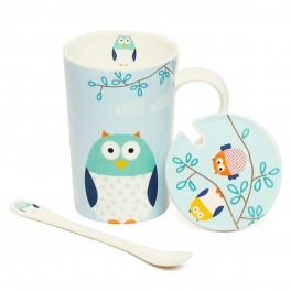 Cana de cafea Owl, Albastru