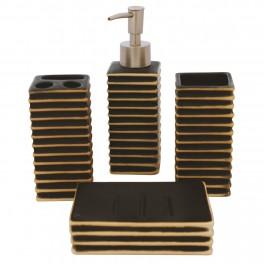 Set accesorii de baie, Negru Patinat