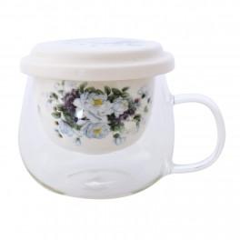 Cana pentru ceai din sticla Blue Rose, 275 ml