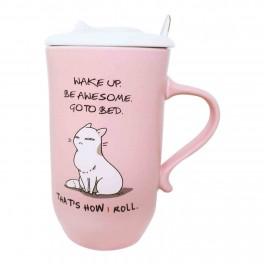Cana de cafea cu capac Cat Lovers, Roz