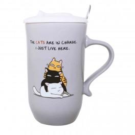 Cana de cafea cu capac Cat Lovers, Gri