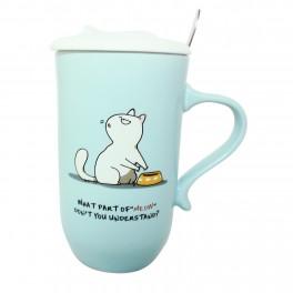 Cana de cafea cu capac Cat Lovers, Turcoaz