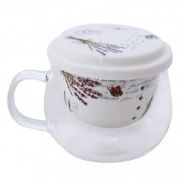 Cana pentru ceai din sticla Lavander, 275 ml