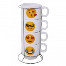 Set cani de cafea cu suport Smiley Face