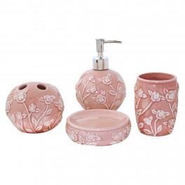 Set accesorii de baie Rosy, Roz