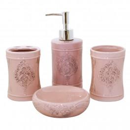 Set accesorii de baie Vintage Style, Roz