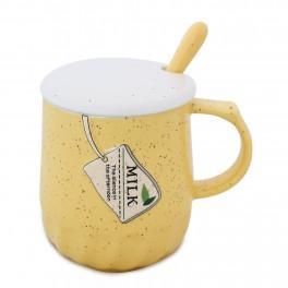 Cana cu capac si lingurita Basic Mug, Milk