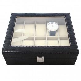 Caseta 10 ceasuri Croco Black Matte