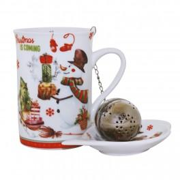 Cana pentru ceai Christmas Snowman, 250 ml